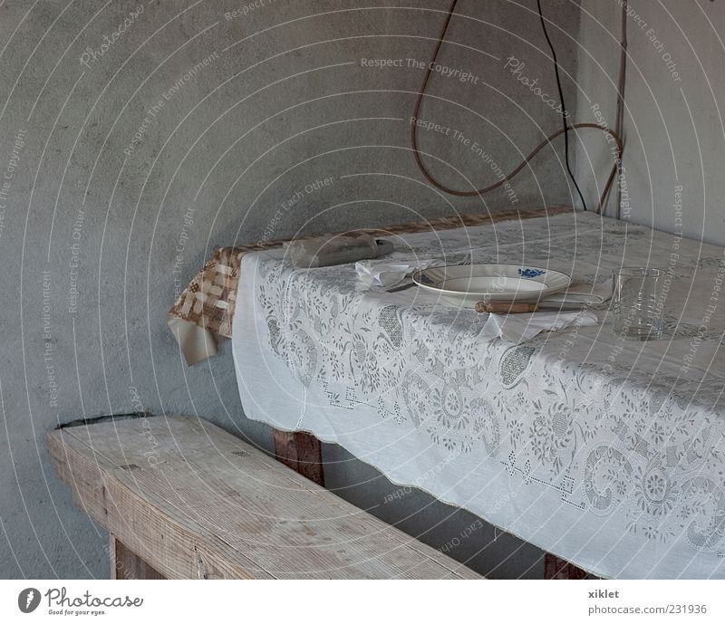 table Table Tablecloth Foyer House (Residential Structure) Rustic Old Village Poverty Simplistic white heat Cement Wall (building) Lunch Meal Nutrition