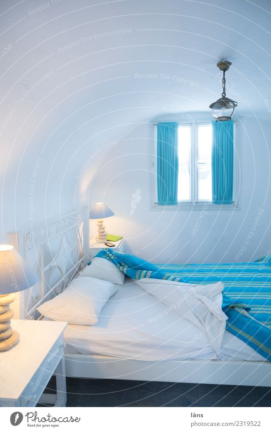 Bedroom Vacation & Travel Tourism Living or residing Flat (apartment) House (Residential Structure) Relaxation Simple Turquoise White Expectation Colour photo