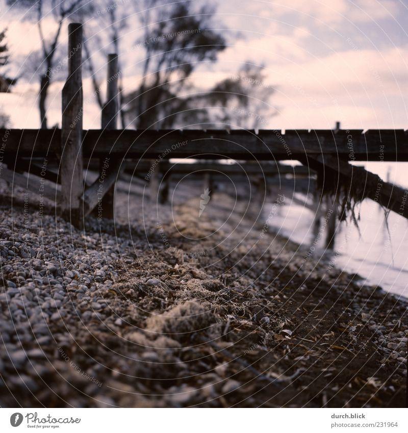Beach Clouds Calm Wood Stone Sadness Lakeside Bay Footbridge