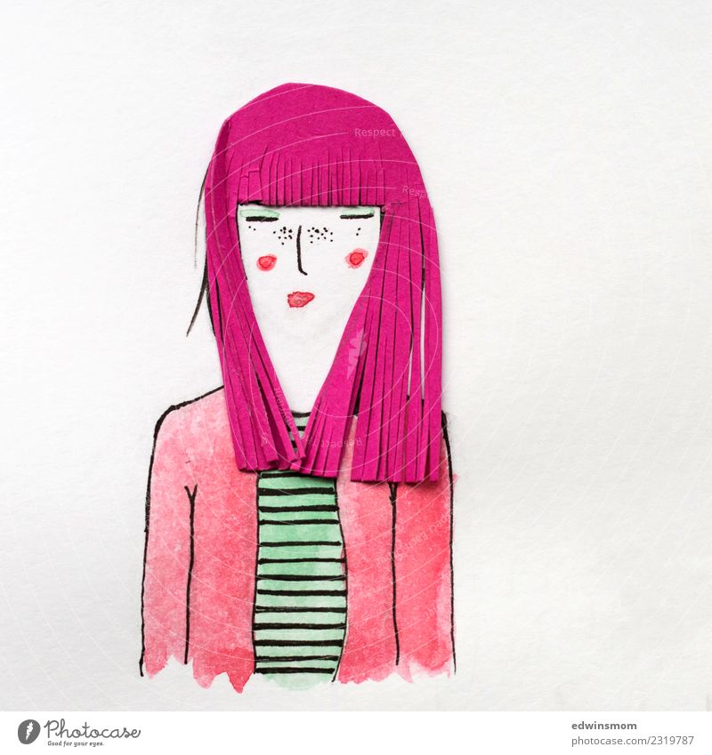 Pink hair Hair and hairstyles Leisure and hobbies Handicraft Carnival Feminine Young woman Youth (Young adults) Woman Adults 1 Human being Long-haired Wig Paper
