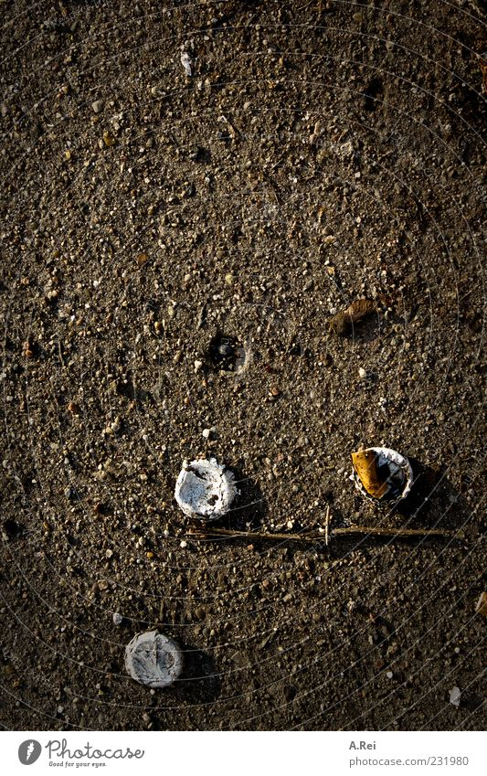 Loneliness Stone Brown Dirty Concrete Arrangement Ground Trash Complex Crown cork Cigarette Butt