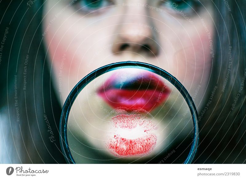 portrait of woman made up with a magnifying glass Lifestyle Beautiful Make-up Lipstick Feminine Woman Adults Fashion Magnifying glass Observe Exceptional