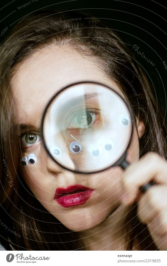 portrait of woman with magnifying glass and many eyes Lifestyle Beautiful Freedom Human being Feminine Young woman Youth (Young adults) Eyes Magnifying glass