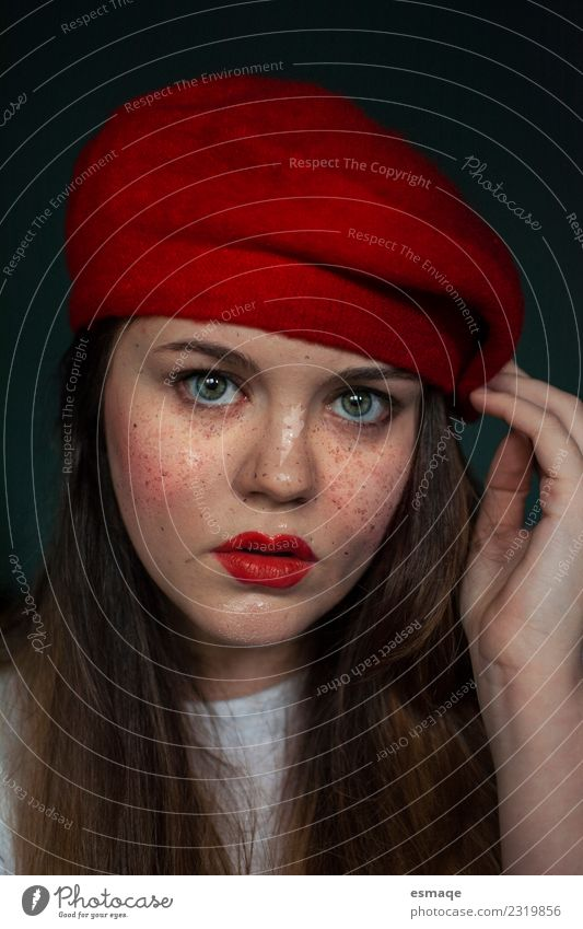 Portrait of Young woman with freckles Lifestyle Style Beautiful Cosmetics Make-up Feminine Youth (Young adults) Woman Adults Hat Cap Observe Uniqueness Modern