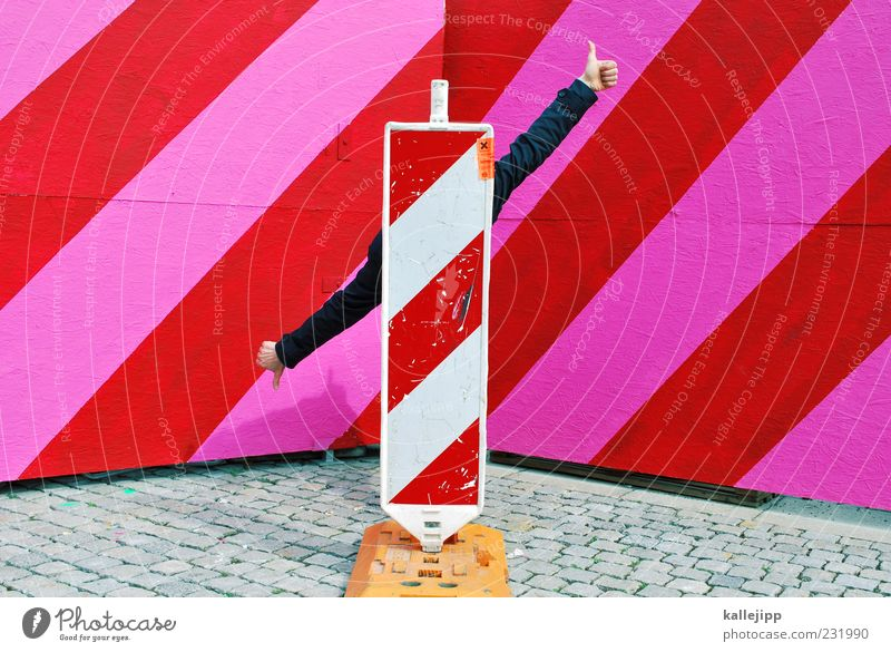 Human being Man Hand Red Adults Life Pink Signs and labeling Masculine Fingers Stripe Good Construction site Sign Diagonal Hide