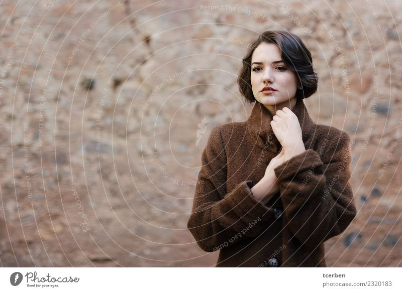 Portrait of woman with short hair and coat with urban background Human being Youth (Young adults) Old Young woman Beautiful Colour Calm Winter 18 - 30 years