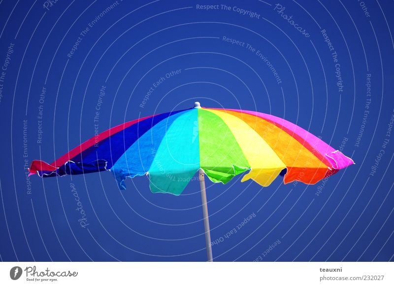 Rainbow Parasol Sky Sun Summer Beach Vacation & Travel Air Stand Leisure and hobbies Umbrella Swimming & Bathing Sunbathing Beautiful weather Summer vacation Protection