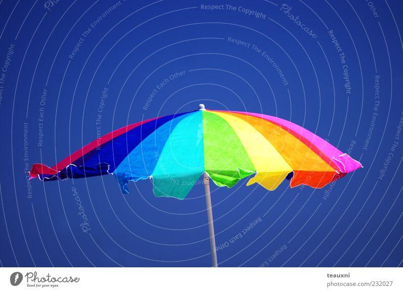 Rainbow Parasol Swimming & Bathing Leisure and hobbies Vacation & Travel Summer Summer vacation Sun Sunbathing Beach Air Sky Sunlight Beautiful weather Umbrella