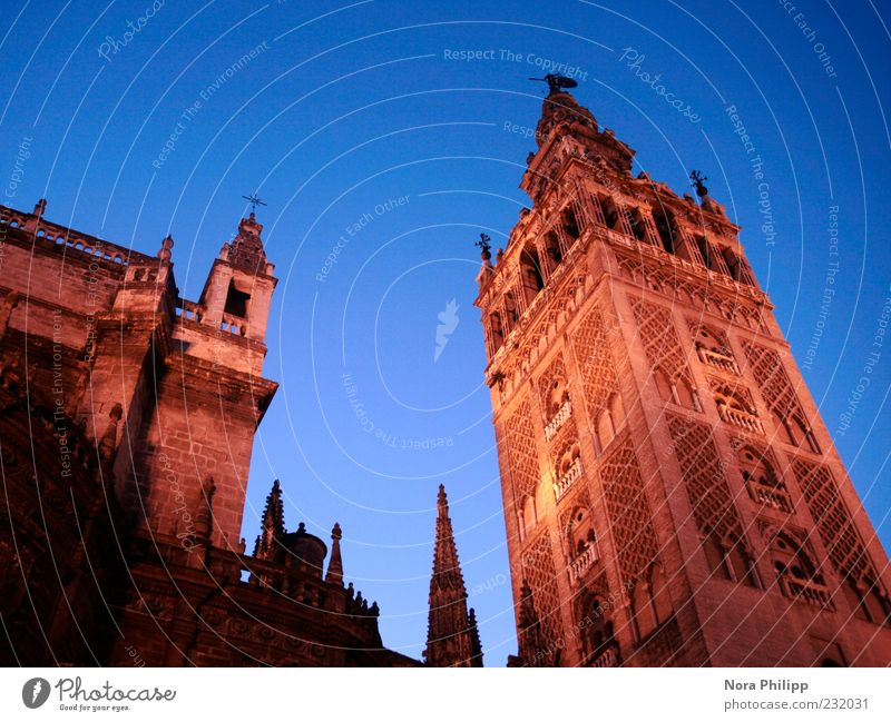Sky City Vacation & Travel Architecture Building Religion and faith Esthetic Tourism Europe Illuminate Church Tower Culture Manmade structures Historic Spain