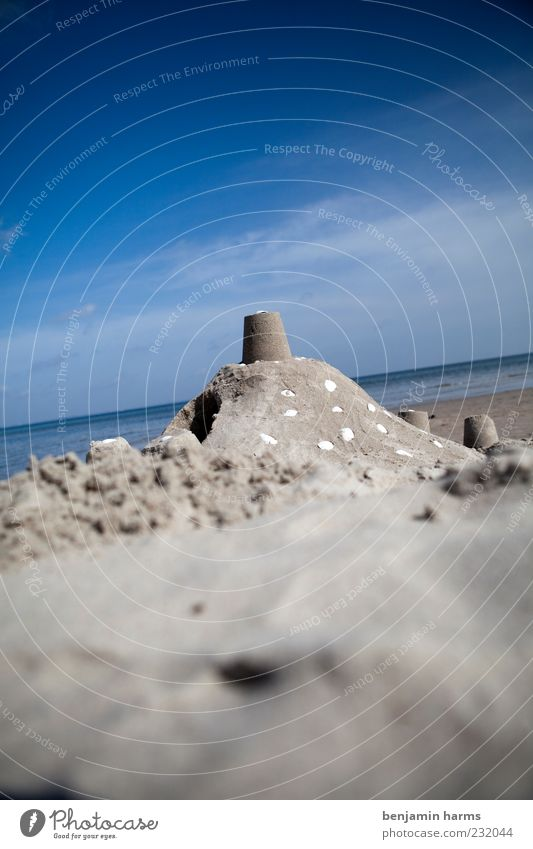 day at the sea #1 Sandcastle Water Clouds Beautiful weather Beach Baltic Sea Ocean Mussel Mussel shell Colour photo Exterior shot Deserted Day