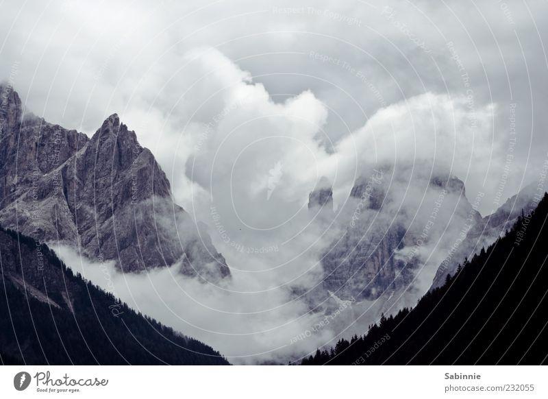 11 + 12 Tourism Mountain Nature Landscape Elements Sky Clouds Summer Weather Forest Rock Alps Sexten Dolomites Peak Cloud formation Stone Wild Gray White Fog
