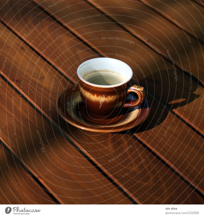terrace coffee Beverage Hot drink Coffee Crockery Cup Coffee cup Saucer Table Wood Brown Coffee break Colour photo Exterior shot Deserted Copy Space left