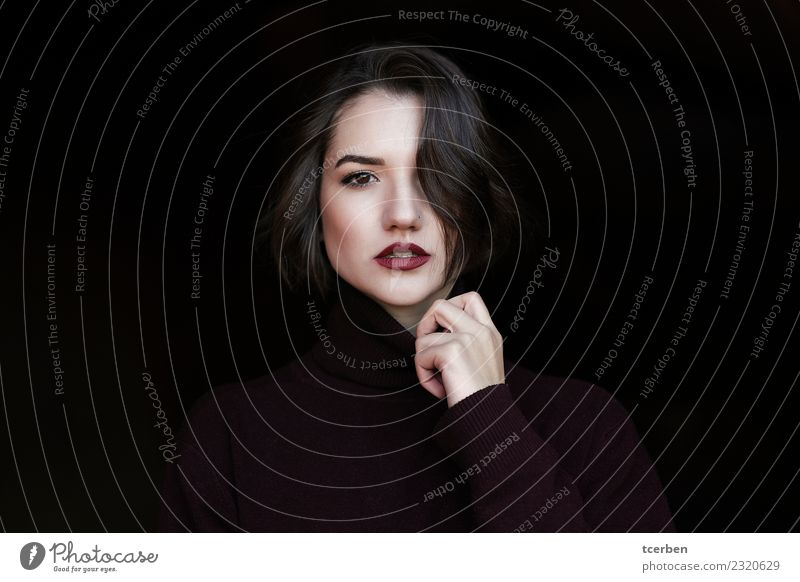 Close up portrait of sensual woman with hair covering one eye Feminine Young woman Youth (Young adults) 1 Human being 18 - 30 years Adults Winter Sweater