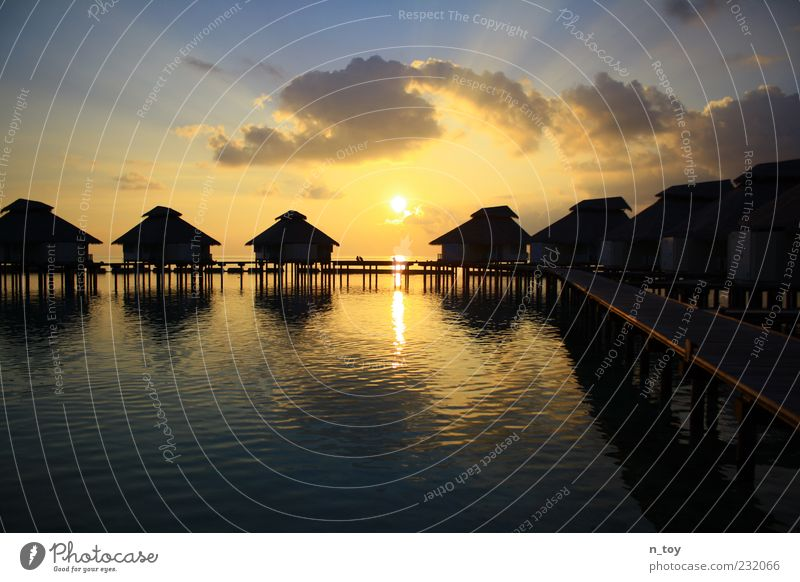 Sky Water Vacation & Travel Summer Ocean Clouds Far-off places Relaxation Tourism Idyll Longing Footbridge Summer vacation Maldives Asia Vacation home