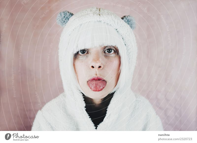 Young and cute woman sticking out her tongue Style Design Exotic Beautiful Feasts & Celebrations Carnival Human being Feminine Young woman Youth (Young adults)