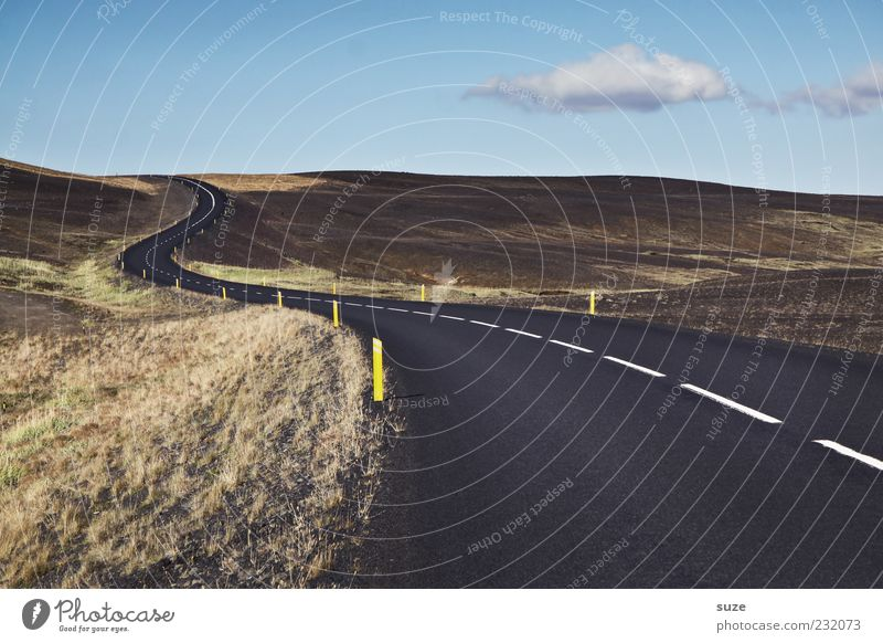 Nature Far-off places Street Environment Landscape Lanes & trails Line Transport Action Threat Target Hill Asphalt Traffic infrastructure Iceland Curve