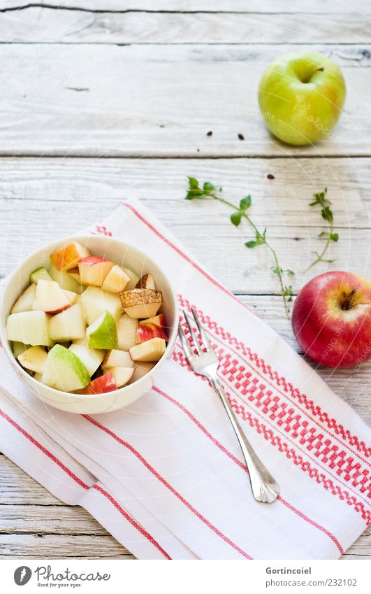 morning freshness Food Fruit Apple Nutrition Breakfast Organic produce Vegetarian diet Diet Slow food Bowl Fork Fresh Healthy Bright Delicious Fruit salad
