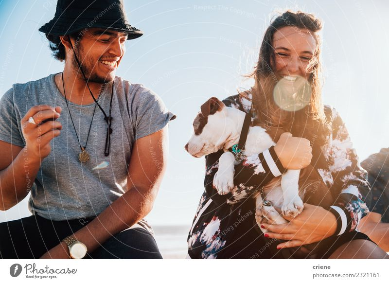 Happy young adult couple with cute puppy Joy Playing Summer Woman Adults Family & Relations Friendship Couple Animal Pet Dog Love Embrace Happiness Together