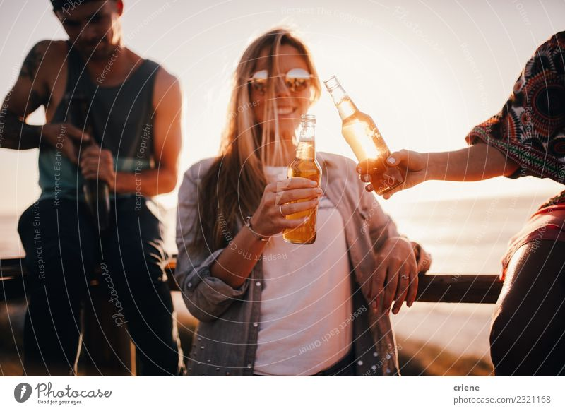 Friends cheering with beers at outdoor party in summer Beverage Drinking Alcoholic drinks Beer Joy Happy Leisure and hobbies Vacation & Travel Freedom Summer