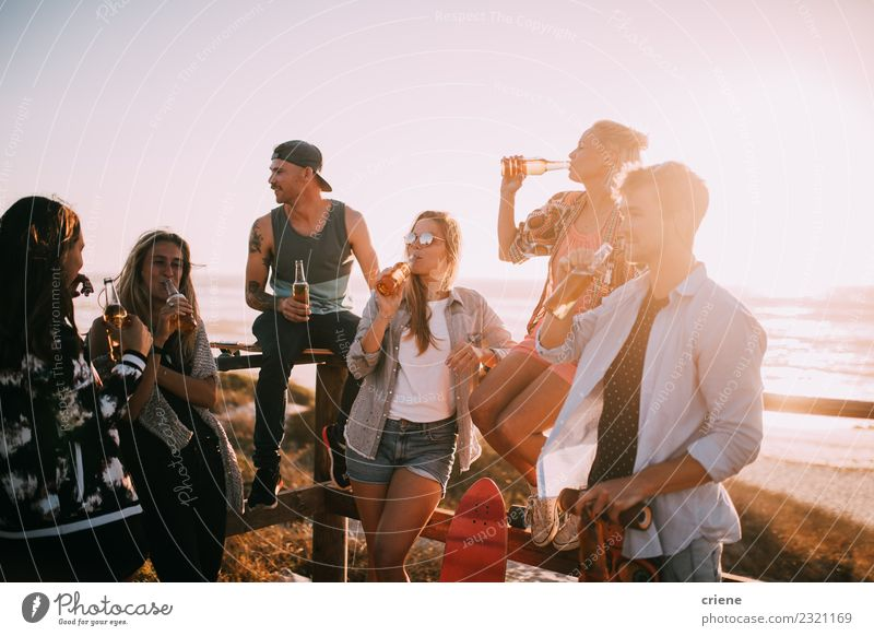 Group of young adult friends drinking beer at the beach party Beverage Drinking Alcoholic drinks Beer Joy Happy Leisure and hobbies Vacation & Travel Freedom