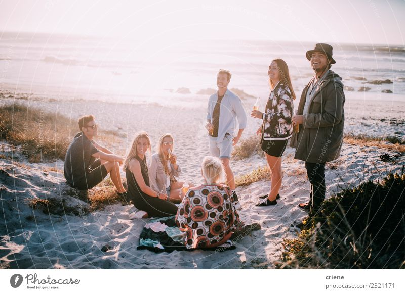 Group of friends hanging out at beach in summer Beverage Drinking Alcoholic drinks Beer Joy Happy Leisure and hobbies Vacation & Travel Freedom Summer Beach