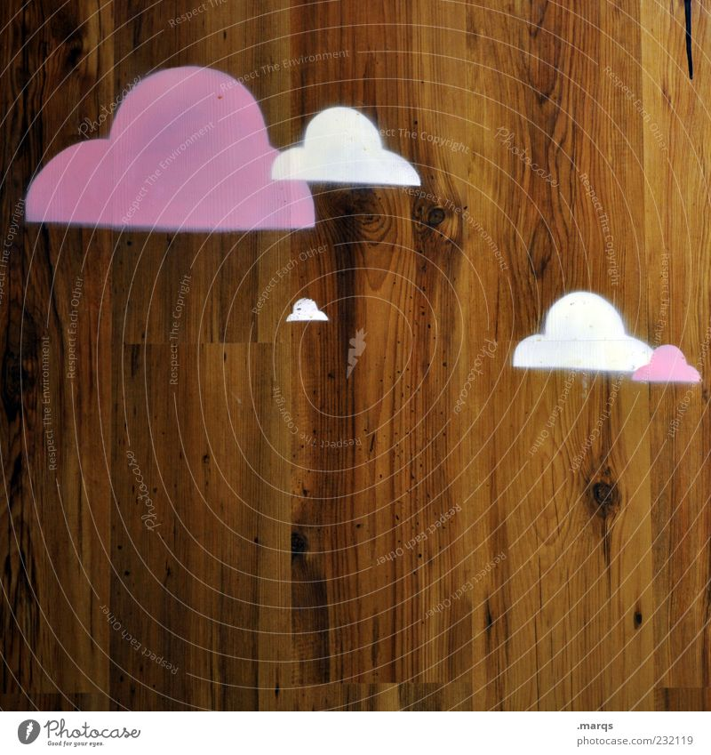 White Clouds Graffiti Wood Weather Brown Exceptional Violet Sign Bizarre Wooden wall Illustration Structures and shapes
