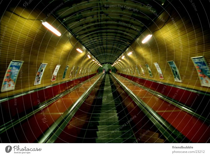trip to prague Underground Escalator Prague Loneliness Tunnel Tunnel vision Retro Architecture