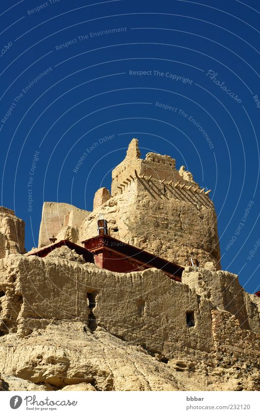 Ancient castle in Tibet Sky Vacation & Travel Blue Landscape Mountain Architecture Building Freedom Roof Asia Castle Landmark Cloudless sky Monument Ruin