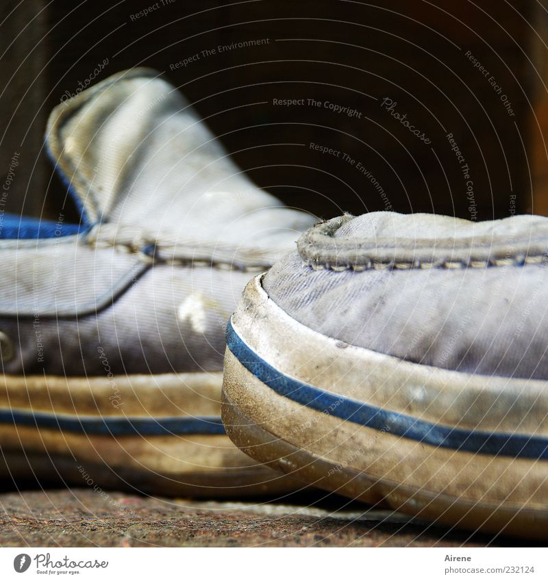 Old Blue White Gray Footwear Dirty Uniqueness Cloth Plastic Trashy Shabby Patch of colour Abrasion Second-hand Stitching Workwear