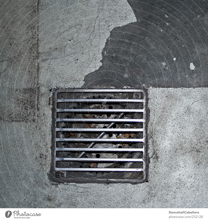 outflow Pavement Grating Drainage Gully Metal Steel Dry Gray Drainage system Abstract Pattern Dirty Parking level Graphic Concrete Ground Symmetry