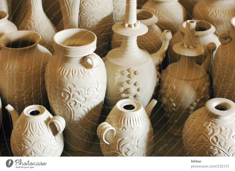 Raw pottery Jugs and Vases Pot Pan Cup Bottle Human being Fingers Work of art Container Watering can Dirty Wet New Brown Gray Creativity Tradition Clay Potter