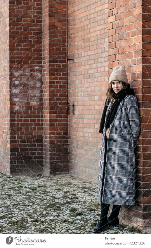 Frosty Berlin V Lifestyle Feminine Young woman Youth (Young adults) Woman Adults 1 Human being 18 - 30 years Town Capital city Industrial plant Fashion Coat
