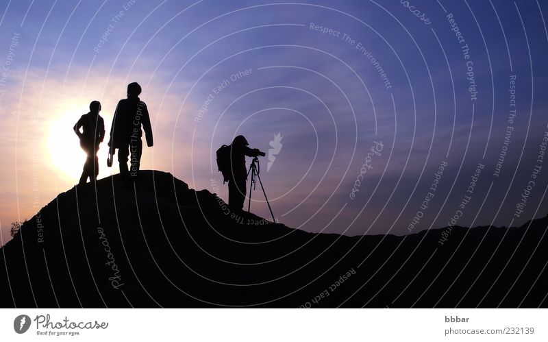 Silhouette of photographers on the mountains Leisure and hobbies Vacation & Travel Sightseeing Mountain Camera Human being Young woman Youth (Young adults)