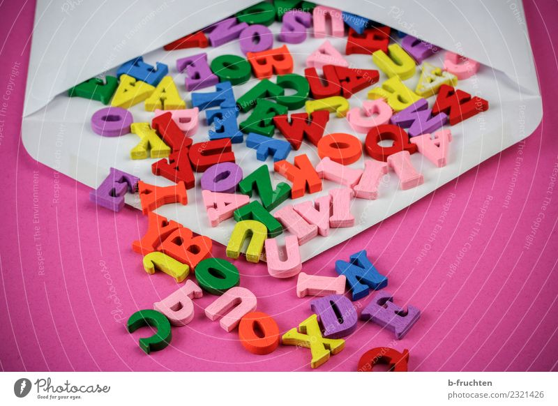 Wooden letters in envelope Mail Business To talk Characters Reading Multicoloured Pink Envelope (Mail) wooden letters secrecy of correspondence