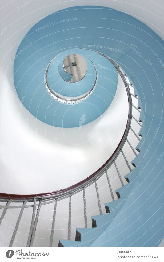 Blue White Wall (building) Architecture Building Wall (barrier) Bright Tall Stairs Esthetic Tower Round Target Manmade structures Infinity Banister
