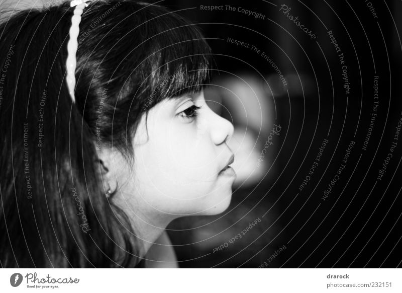 Just wondering Child Girl Infancy Youth (Young adults) 1 Human being 3 - 8 years Observe Think Looking Cute Black White Black & white photo Interior shot