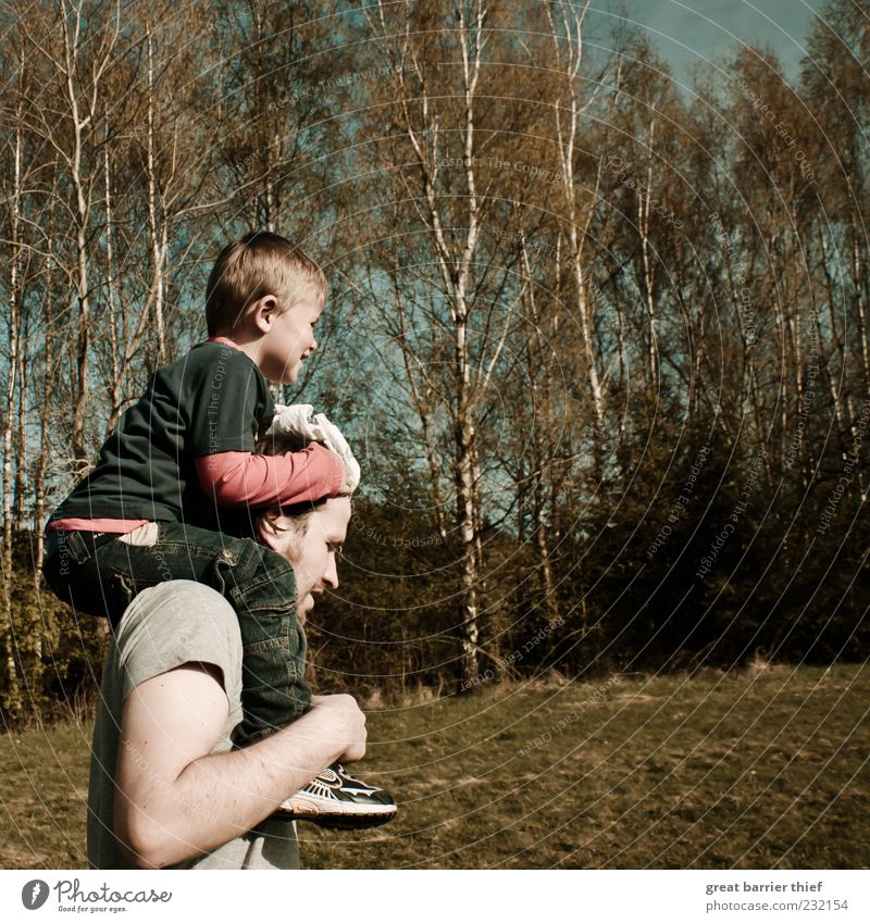Father and son Human being Child Man Nature Tree Joy Adults Environment Meadow Landscape Boy (child) Family & Relations Infancy Hiking Masculine Happiness