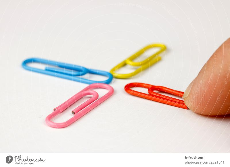 Cross with paper clips Office work Business Career Success Fingers Build Touch Simple Multicoloured Together Orderliness Communicate Center point Teamwork