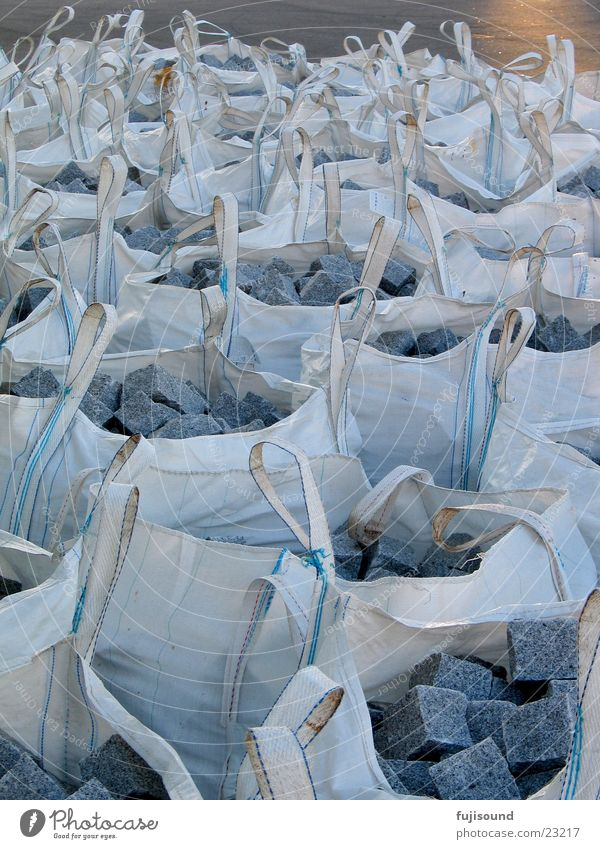 stone bagged Sack White Navigation Stone Slate blue many bags Graffiti Cobblestones Logistics