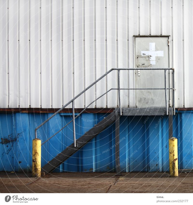 Old Blue White Yellow Wall (building) Gray Metal Door Contentment Facade Stairs Concrete Safety Gloomy Metalware Asphalt