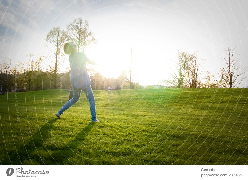 Human being Nature Youth (Young adults) Green Sun Summer Joy Adults Yellow Relaxation Meadow Landscape Playing Movement Grass Happy