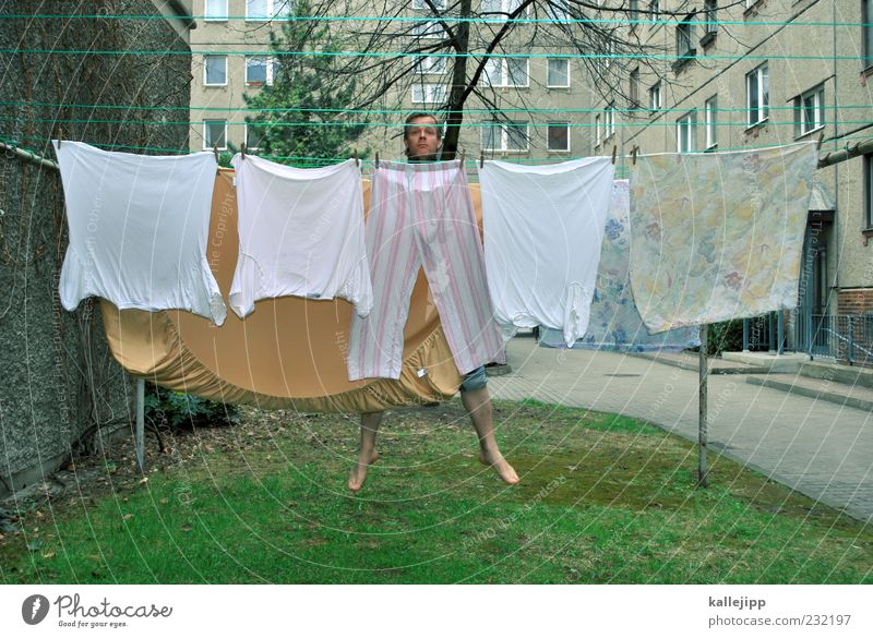 3400_washing day Joy Human being Man Adults 1 30 - 45 years Clothing T-shirt Pants Jump Housekeeping Laundry Clothesline Colour photo Exterior shot Light Shadow