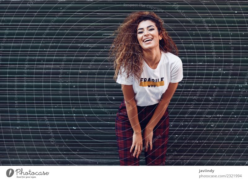 Happy young woman smiling on urban blinds Lifestyle Style Joy Beautiful Hair and hairstyles Face Human being Young woman Youth (Young adults) Woman Adults 1