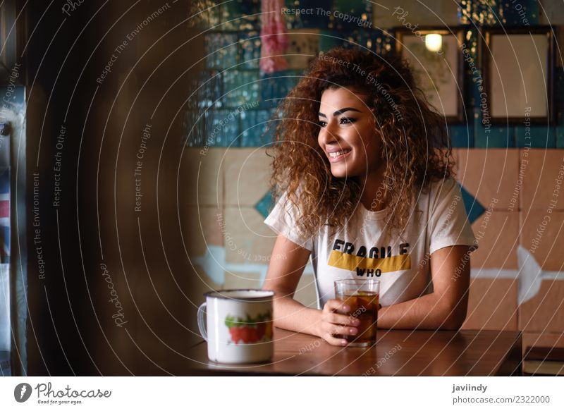 Smiling woman in a bar with vintage decoration Woman Human being Youth (Young adults) Young woman Beautiful Loneliness Joy 18 - 30 years Adults Street Lifestyle