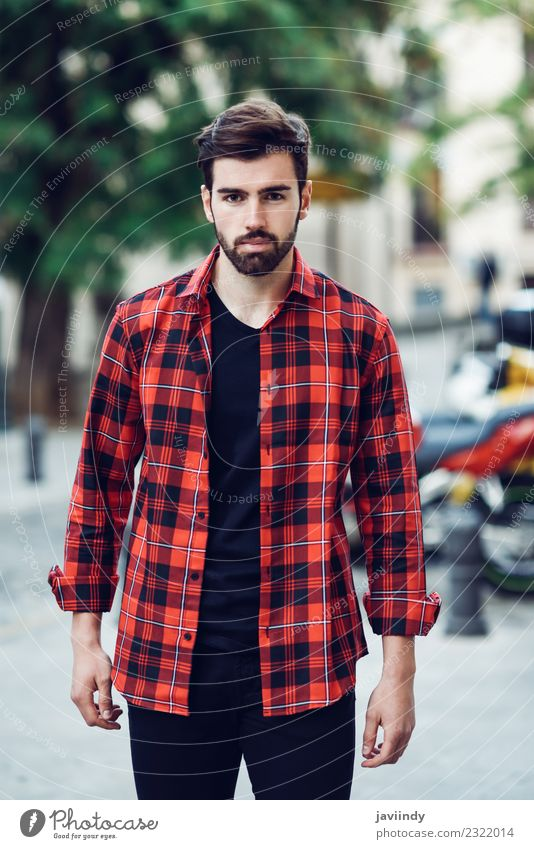 Young bearded man in urban background Human being Youth (Young adults) Man Beautiful Young man White 18 - 30 years Adults Street Lifestyle Autumn Style