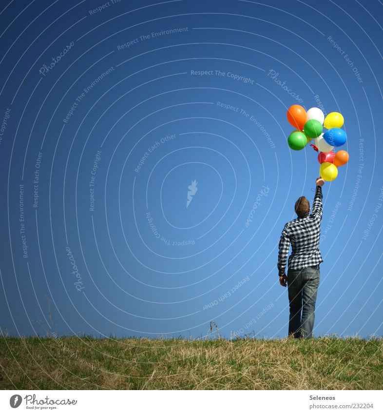 balloon holder Leisure and hobbies Playing Trip Freedom Summer Garden Birthday Kindergarten Human being Masculine 1 Environment Nature Landscape Sky