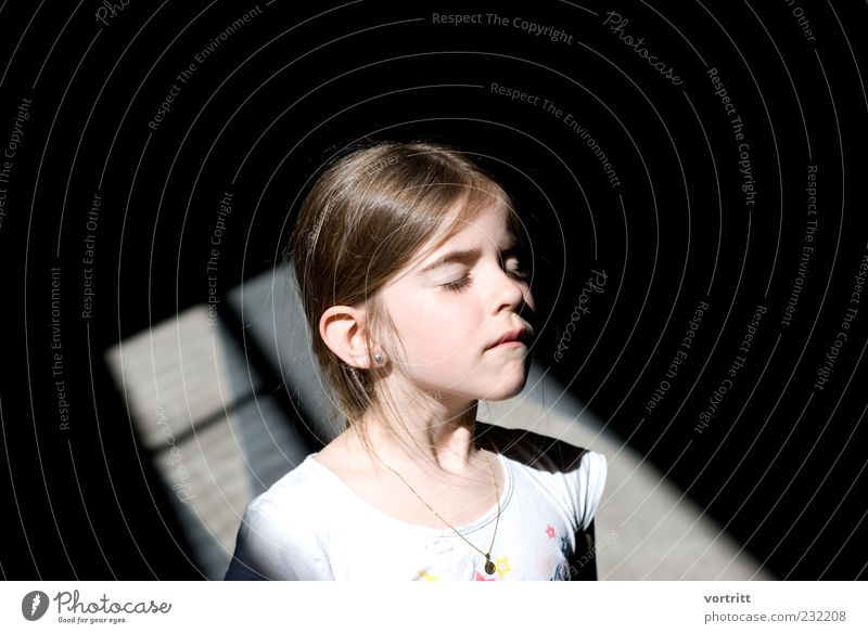 shone Child Girl 1 Human being 3 - 8 years Infancy Brunette Long-haired Stand Exceptional Black White Flashy Colour photo Exterior shot Day Light Shadow