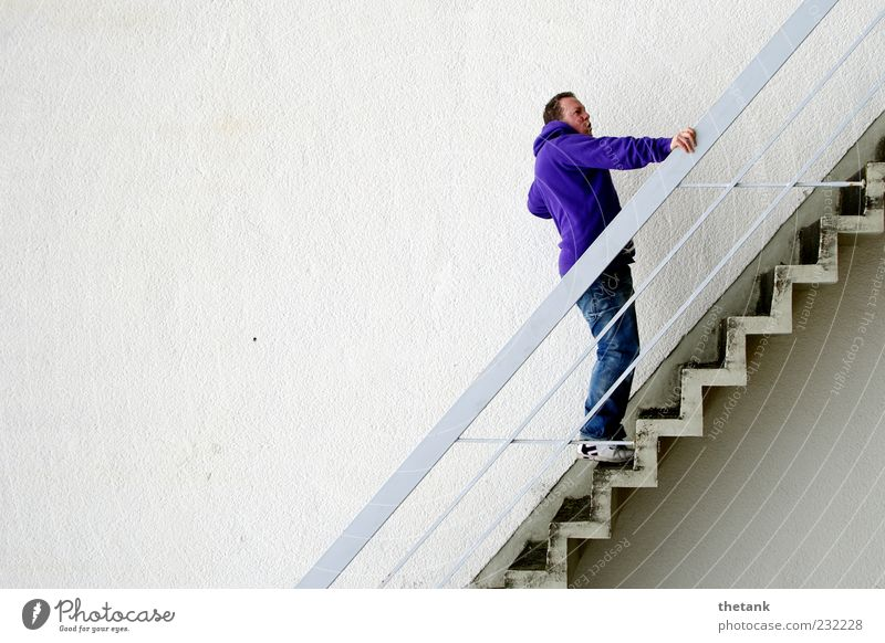 Human being Youth (Young adults) White Calm Adults Wall (building) Wall (barrier) Facade Tall Stairs Stand 18 - 30 years To hold on Violet Handrail Brave