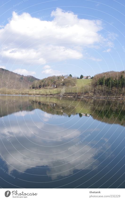 Water Clouds House (Residential Structure) Calm Forest Relaxation Spring Lake Beautiful weather Water reflection Lake Eder