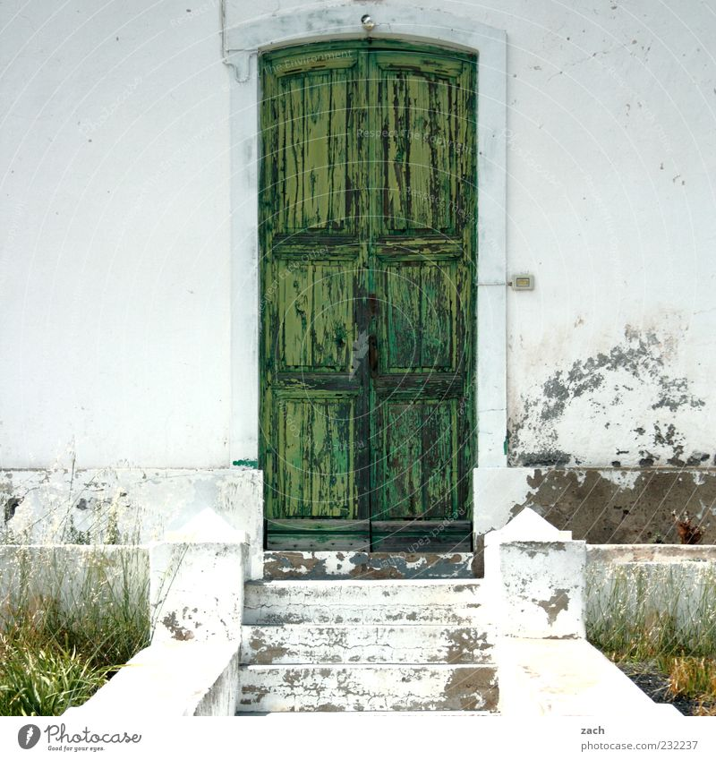 Old White Green House (Residential Structure) Architecture Stone Door Facade Stairs Building Front door
